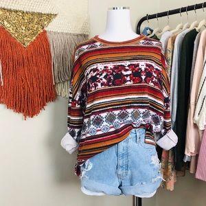 Zara Tribal Print Pullover Top